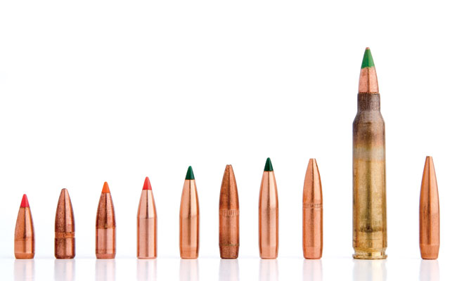 Purely because of the variety of projectiles available for it, the 5.56/.223 is the most practical and versatile AR-15 cartridge available. Bullets shown are just a few of those available.