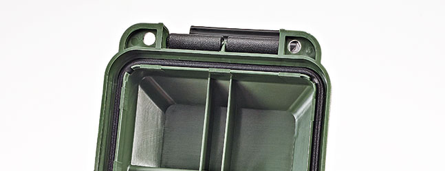 MTM's cans and crates feature a weather-resistant gasket. Outside, they are molded with ridges for steadier stacking.