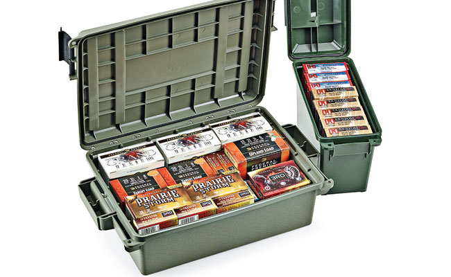 MTM Case-Gard offers storage solutions that replicate the shape of familiar surplus metal boxes — including the .30-caliber can ($10) — as well as crates for storage and transportation of nontraditional shapes and sizes. You'll find them to be just as useful for hauling gear besides ammo. $10 – $45