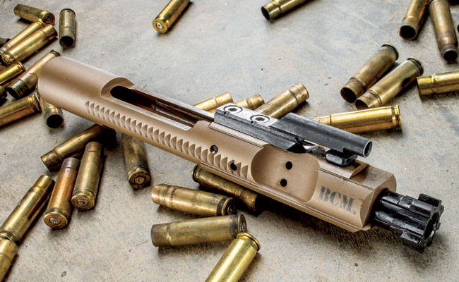 The attractive FDE ion-bonded finish on the bolt carrier group makes maintenance a breeze, while the BCM Gunfighter triggerguard is sufficiently shaped for gloved shooting.