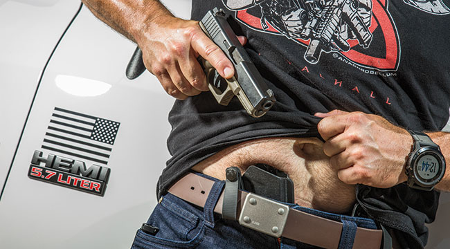 Carrying appendix inside the waistband (AIWB) requires a good belt (in this case the 5.11 Apex Gunners Belt) as well as a good holster (in this case the PHLster Glock Skeleton Holster) to be done safely and correctly. Even after 44 years of good whiskey and bad choices, the author can still carry comfortably like this.