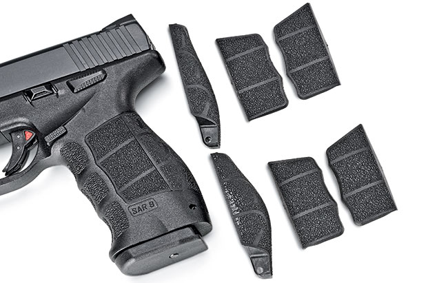 Like the HK VP9, the frame maximizes personal preference with its interchangeable backstraps and side panels.