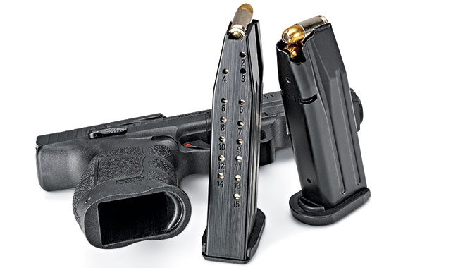 The magwell is flared and scalloped at the sides for grabbing the magazine basepad. Two 15-round mags are included.