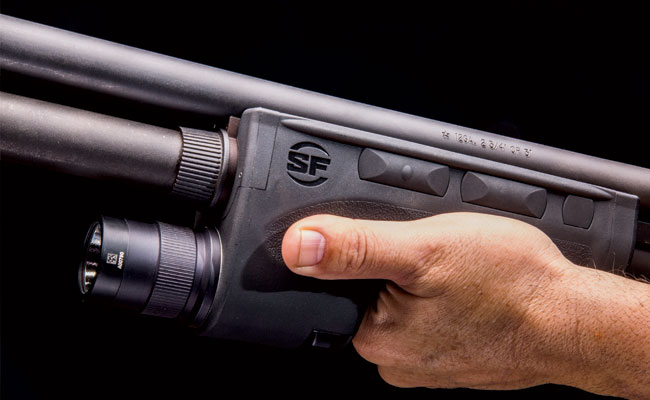 The SureFire dedicated shotgun forend is the industry standard. It requires training because of the multiple programmable switching functions. Practice is necessary and so is a rigorous inspection schedule. The author's department armory has several in the rack that have seen heavy use over the last 10 years and still provide excellent service.