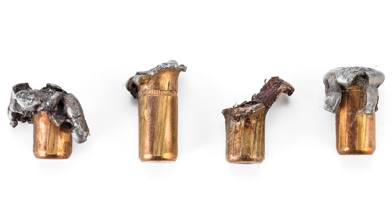 These recovered bullets from a buffalo shot by with Hornady's 400-grain DGX bonded bullet in a .416 Rem. Mag. illustrate what happens when it impacts bone versus tissue.