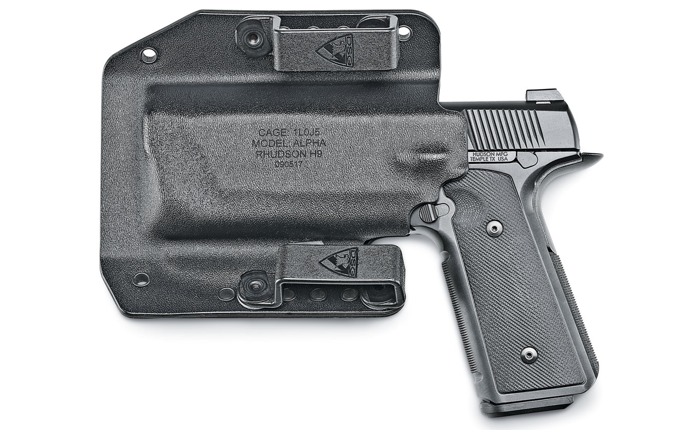 The Hudson H9 was one of the most highly anticipated new pistols introduced in 2017. It generated a lot of demand for the unique, striker-fired pistol that borrows much from the M1911. DSG Arms is among the few brands that offer holsters for the H9 including an IWB model and this black OWB carrier called the Alpha. $70