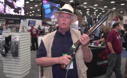 "Michael Bane stopped by the E.M.F Pietta booth to take a look at their replica Winchester 1887 lever action shotgun, also known as the ""Mare's Leg""."