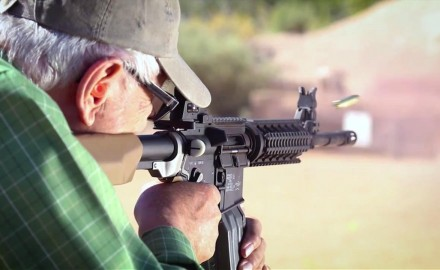 Tom Beckstrand talks with gun designer Jim Sullivan about current improvements that Jim is working