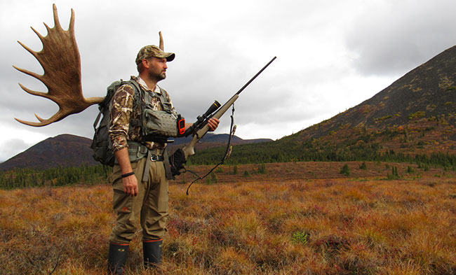 Hornady's Neal Emery took this Alaska-Yukon moose from 611 yards using his 7mm rifle handloaded with ELD-X bullets.