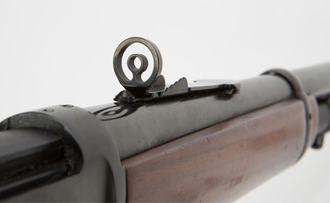 The author equipped his Winchester '94 with a Marbles barrel-mounted aperture sight.