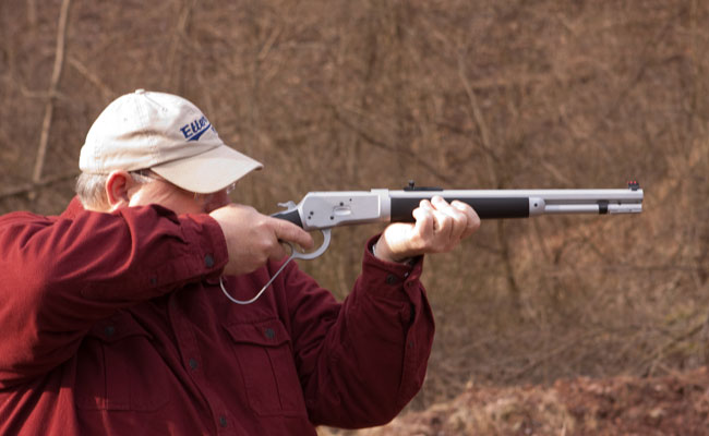 The author found the .44 Magnum chambered, 16-inch barreled Alaskan Rifle to be easily controllable for fast follow-up shots.