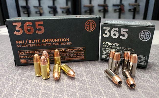 SIG 365 Elite Performance Ammunition in 115gr 9mm SIG V-Crown and SIG FMJ