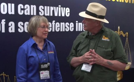 OSG's Michael Bane stops by the Armed Citizens Legal Defense Network booth to talk with Gila Hayes at the 2018 NRA Annual Meetings and Exhibits.