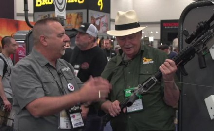 Frank DeSomma, the designer of the POF-USA Revolution, showed off his new rifle to Michael Bane at NRA 2018