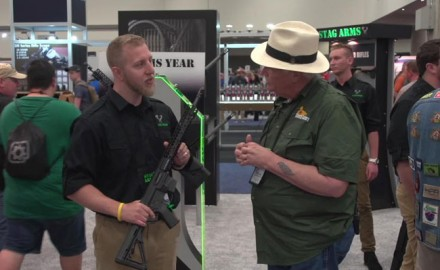 OSG's Michael Bane chats with Chris Berlinski at the Stag Arms' booth during the 2018 NRA Annual Meetings and Exhibits in Dallas, TX.