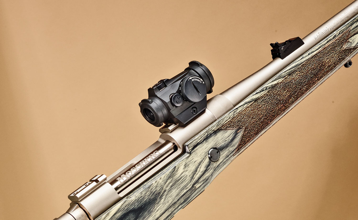 Introduced in 2015, the author used the Aimpoint Micro H-­2 for dangerous game hunting on the also then-­new Mossberg Patriot in .375 Ruger, the company's first magnum action. The Micro H-­2 was mounted on the rifle's forward receiver bridge allowing for quick action and maximum situational awareness.