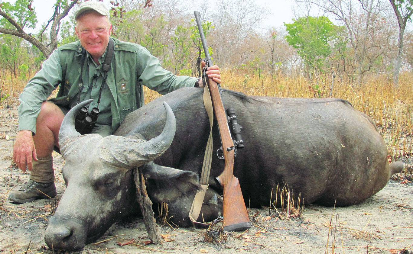 Taken in Burkina Faso, this West African savanna buffalo was running straight at the author when shot. The Aimpoint on his .375 made targeting and stopping it simple and easy.