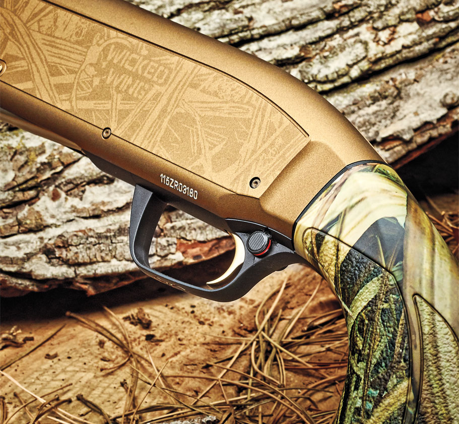 What makes this Maxus a Wicked Wing is the Cerakote Burnt Bronze finish, along with the Mossy Oak Shadow Grass Blades Dura-­Touch Armor coating. It stands out in a gun safe but blends in well afield.