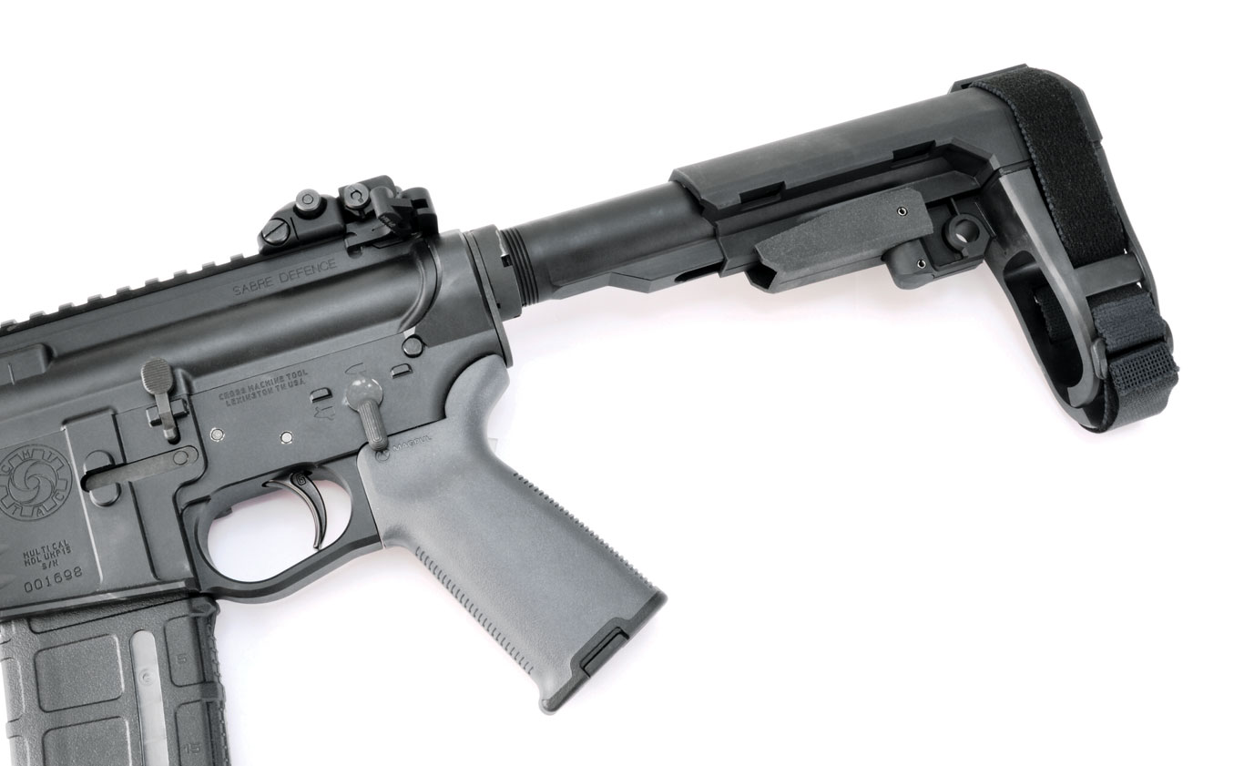 A prototype of SB Tactical's newest brace, the SBA3, at full extension. It is five-­position adjustable and comes with a carbine receiver extension, which is ATF legal.