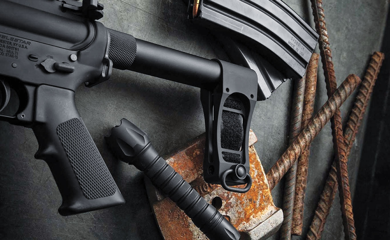 The Strongarm from DoubleStar is one of the newest braces on the market. It is a machined aluminum piece that clamps onto a pistol buffer tube. It also features a nylon strap for forearm attachment.