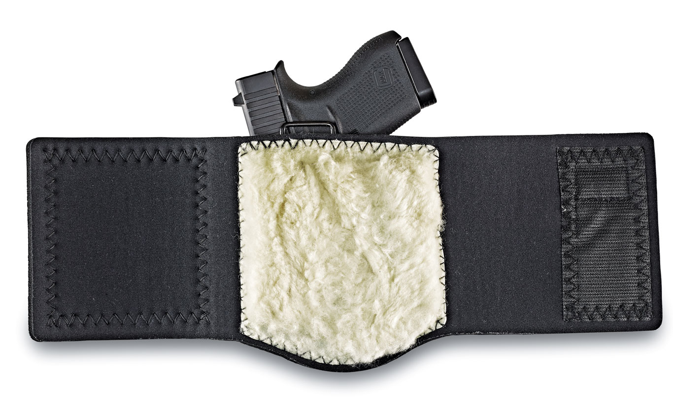 Galco's new Ankle Guard improves on the common neoprene solution by combining the best features from its BlakGuard belt holster and Ankle Glove holster, creating a better fit for gun and human. The inside of the Ankle Guard is lined with sheep skin that comfortably cushions the holster against the ankle bone when the holster is tightly stretched around the lower leg. $85