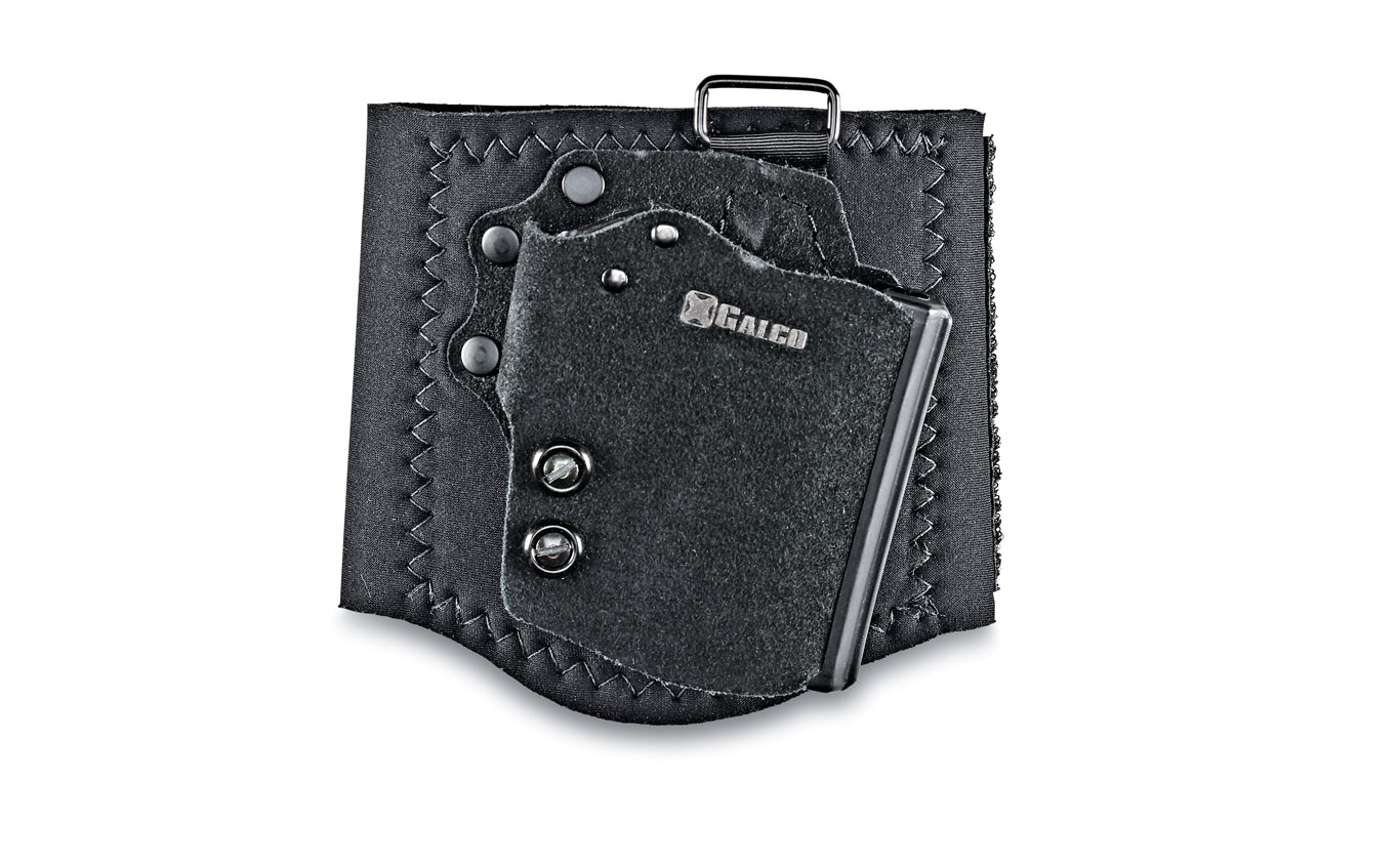 The Velcro system does well to cling to a person's lower leg, but heavy pistols will wobble with each step. The lighter the gun, the better. A G43 holstered with 6+1 rounds weighes 1.68 pounds.