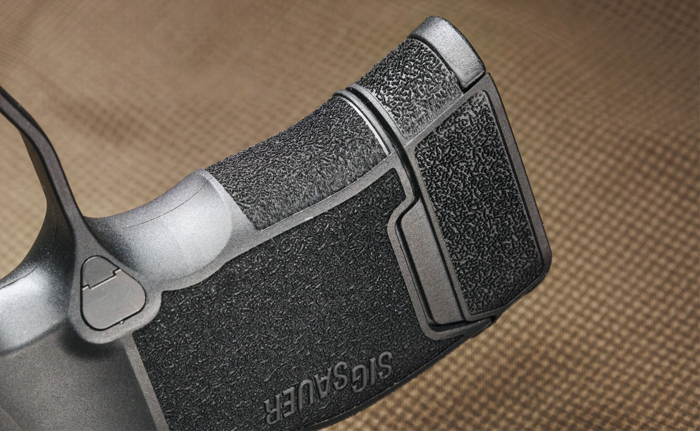 Stippling-­style grip texture fully surrounds the frame and offers just enough coarseness to remain planted in your hand when fired without being too abrasive when holstered against clothing.