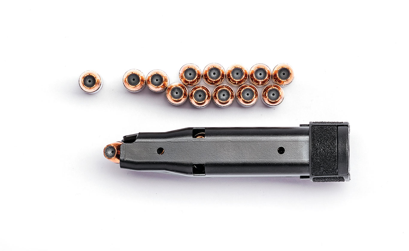 The flush-­fit magazine can carry 10 rounds of 9mm, while the extended magazine (below) holds 12.