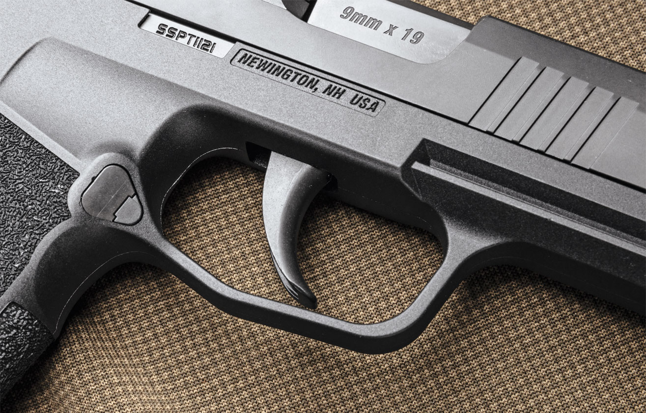 The trigger shoe closely resembles SIG Sauer's P320, as does the length of pull and its break point around mid-­stroke.