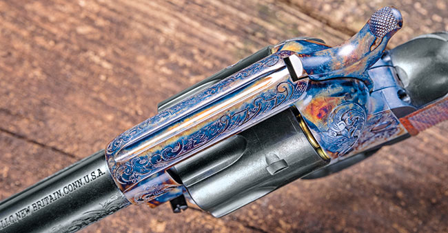 The cylinder, barrel, triggerguard and ejector rod housing were given a high-polish blue, which contrasts nicely with the color-case-hardened frame assembly and hammer.