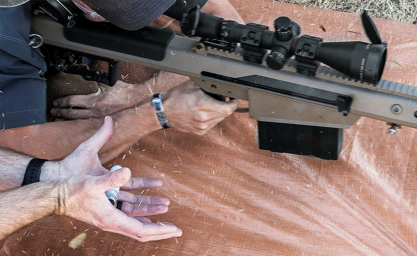 It wouldn't be prudent to catch ejected brass from a .50-caliber Barrett M107 this way, but with True Velocity's polymer cases the heat goes down the barrel and does not stay with the case.