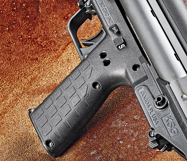 The grip features Kel-­Tec's signature square texturing.