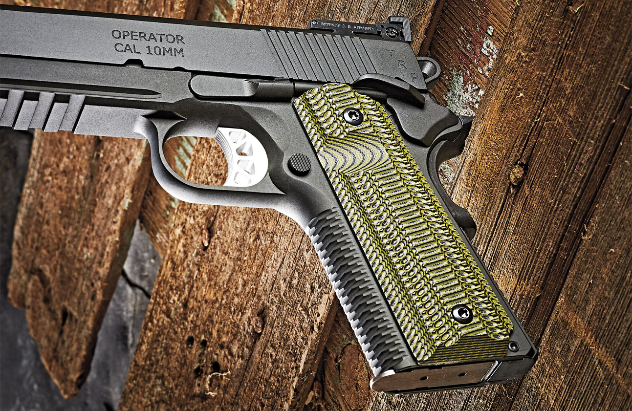 VZ Grips' Alien-pattern G10 left grip panel sports a thumb access bevel for easier reach to the TRP's low-profile mag release button. The Alien grips' texture pattern and color was designed for use by the U.S. Marine Corps' PWS on the former M45s.