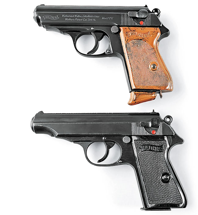 The PPK (top) was a spin-off of the PP (below), which was shortened for concealment and ease of carry.