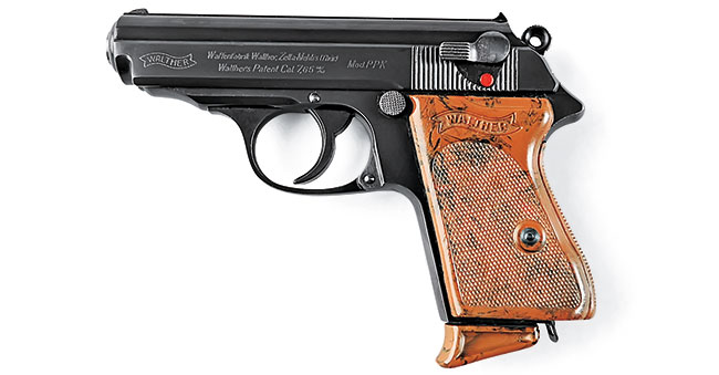 The Walther PPK was a handy double-­action semiauto measuring just over six inches in length. Ultimately, this versatile pistol would be available in 7.65mm (.32 ACP), 9mm Kurz (.380 ACP), 6.35mm (.25 ACP) and 6mm (.22).