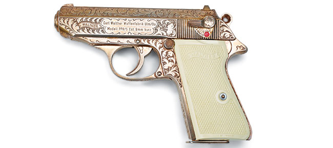 From inception, PPKs have been excellent canvases for embellishment as exemplified by this post-war, silver-plated and engraved example. (Photo courtesy of the National Firearms Museum.)