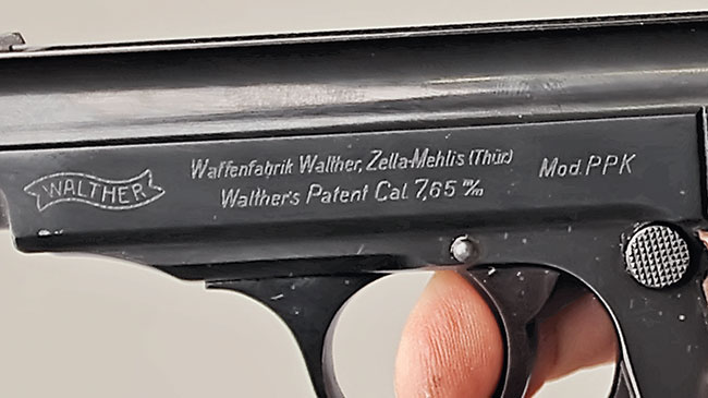 Pre-war and World War II-era PPKs were manufactured at the Walther Plant in Zella-Mehlis, Germany. These are typical early slide markings.