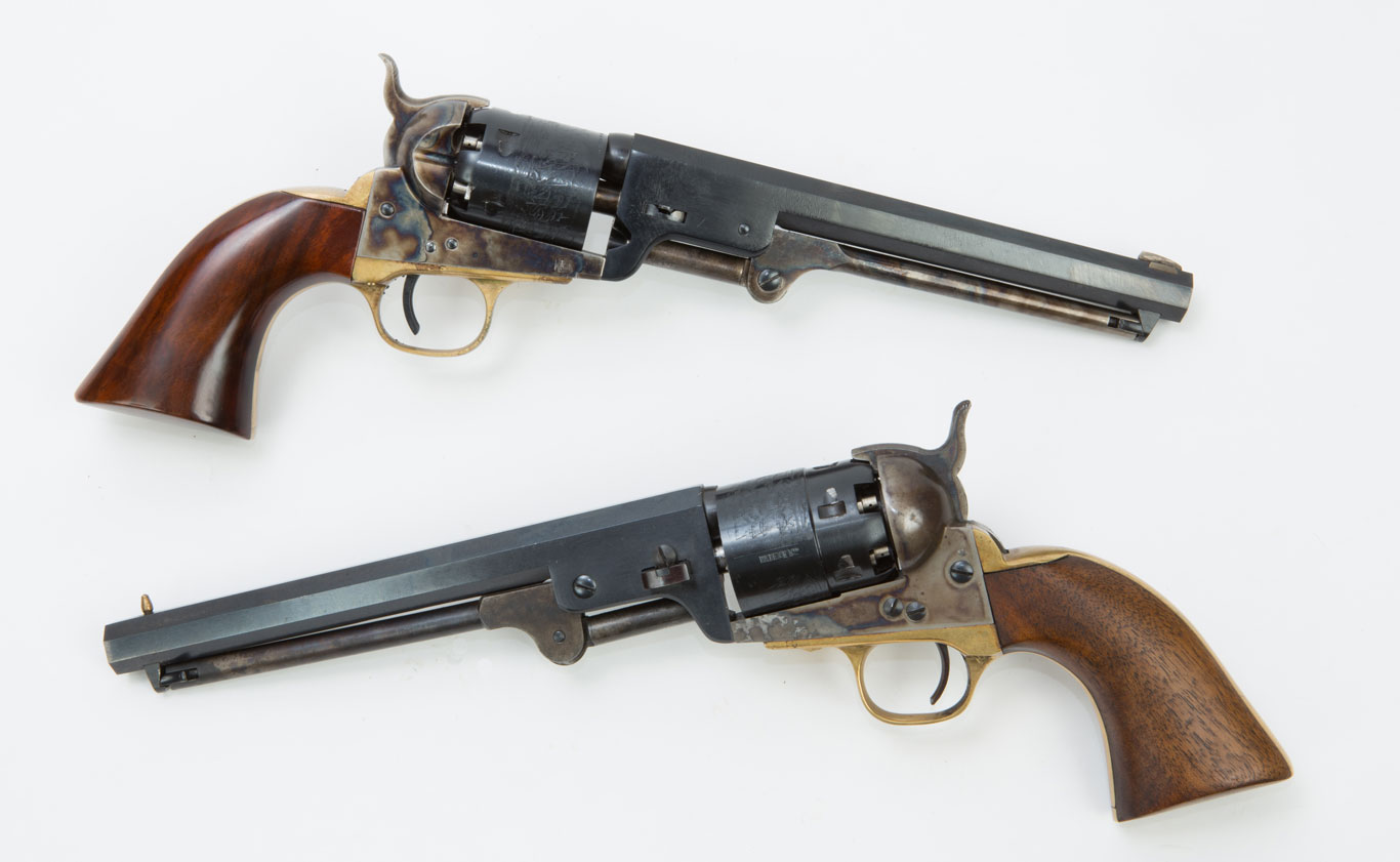 .36 caliber 1851 Navy revolvers (top) are so marginal for self-defense that the author recommends that you don't use them. But, the non-historically correct .44 caliber version performs the same as the Army .44 models.