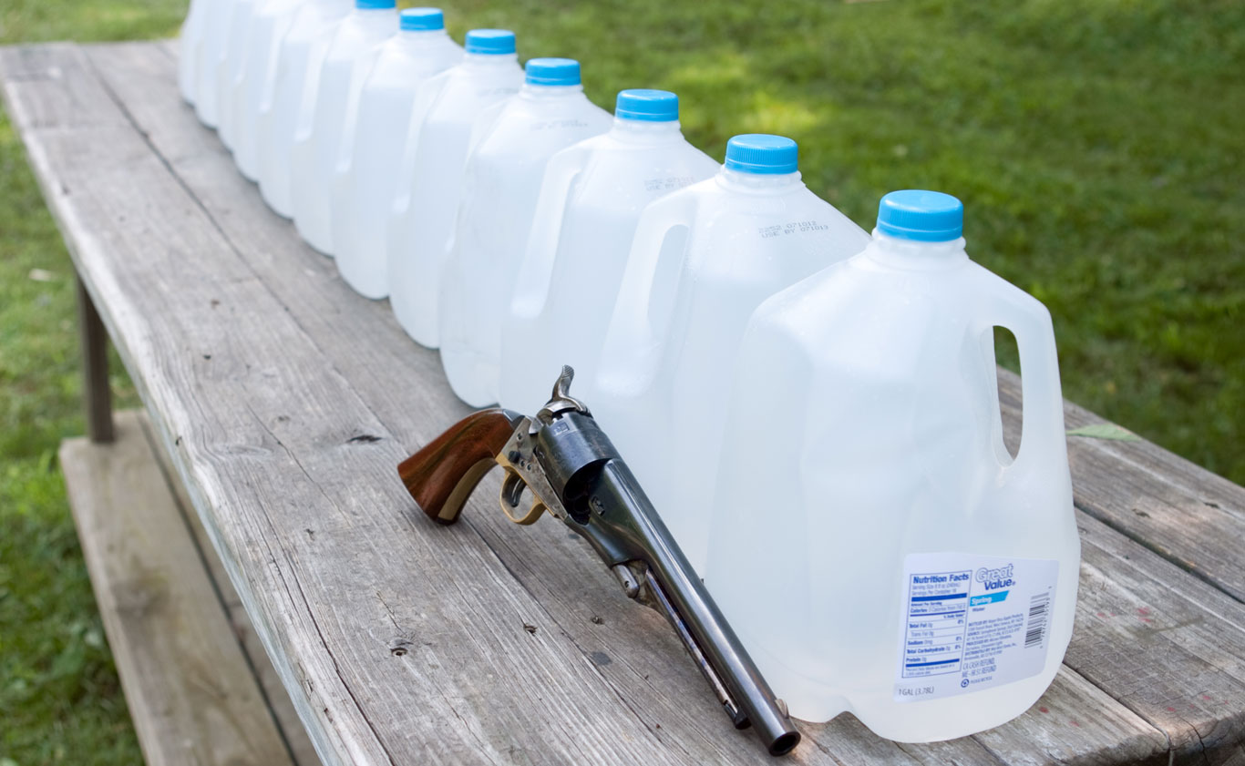The author evaluated penetration by firing into rows of one-gallon water.