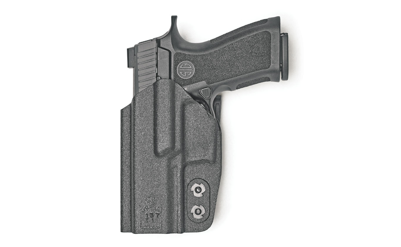 The Slim-Tuk is an ambidextrous IWB Kydex holster that features a unique C-Clip allowing it to be positioned anywhere around the waist. And it can be reversed for right- or left-handed use. $40
