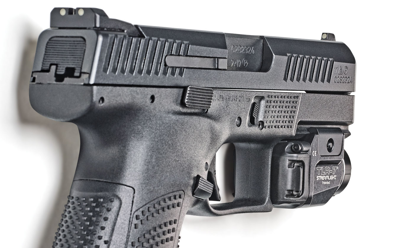 Streamlight's new flush-fit TLR-7 compact light and TLR-8 light/laser combo offer easy access for activation just ahead of the triggerguard. Both feature ambidextrous switch operation. TLR-7 $215 TLR-8 $350