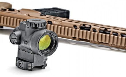 The new Trijicon MRO with a 2 MOA adjustable green dot can be had with or without a mount. Mounts that co-witness with the dot or place the dot in the lower 1/3rd with reference to back-up sights are available as well as three mounts with quick-release levers. $613 – $750