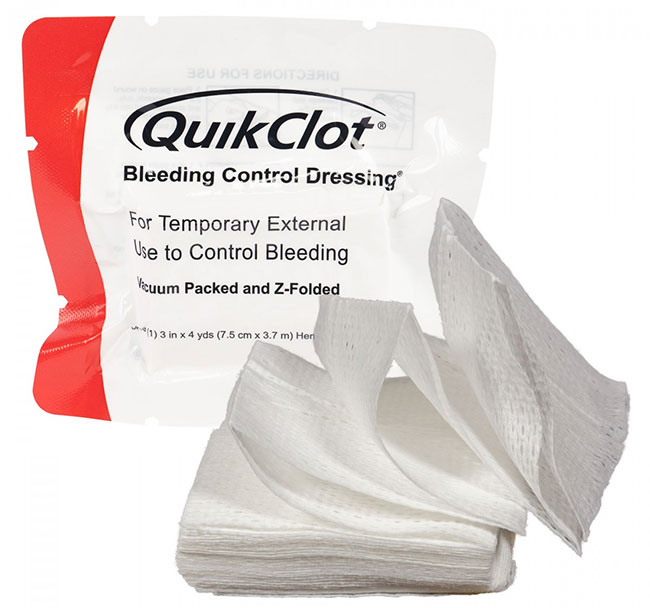 QuikClot minimizes bleeding.