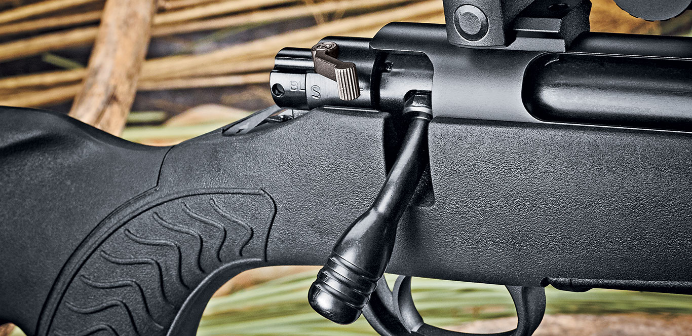 The three-position Winchester Model 70-style safety lever can be used to lock the action, leave the bolt unlocked for unloading with the trigger locked, or be completely unlocked to fire.