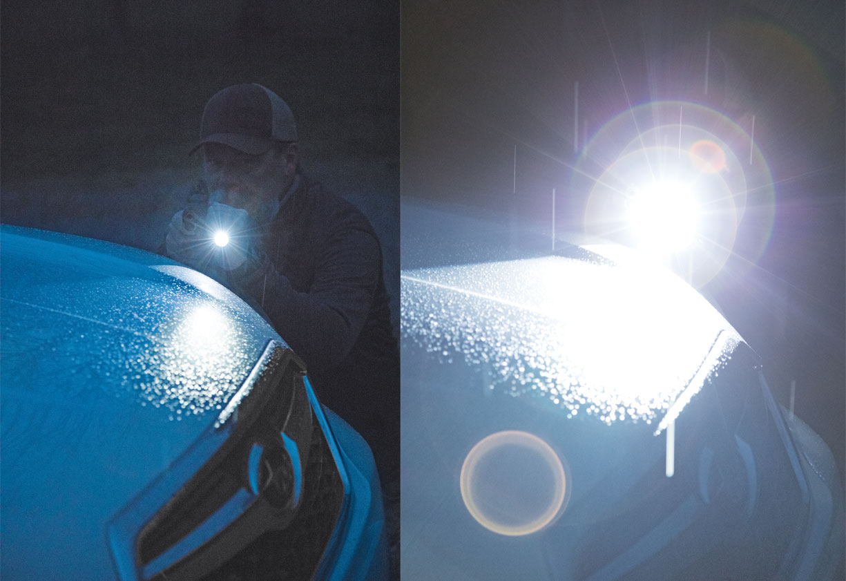 The author is not a fan of a dim setting on a tactical light. The light on the left is set on dim, while the one on the right is set to impressive.