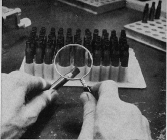 The first step in reloading metallic ammunition is to make certain that all the cartridge cases are in good shape; free from split necks and unusual denting. A good magnifying glass is handy and well worth the cost.