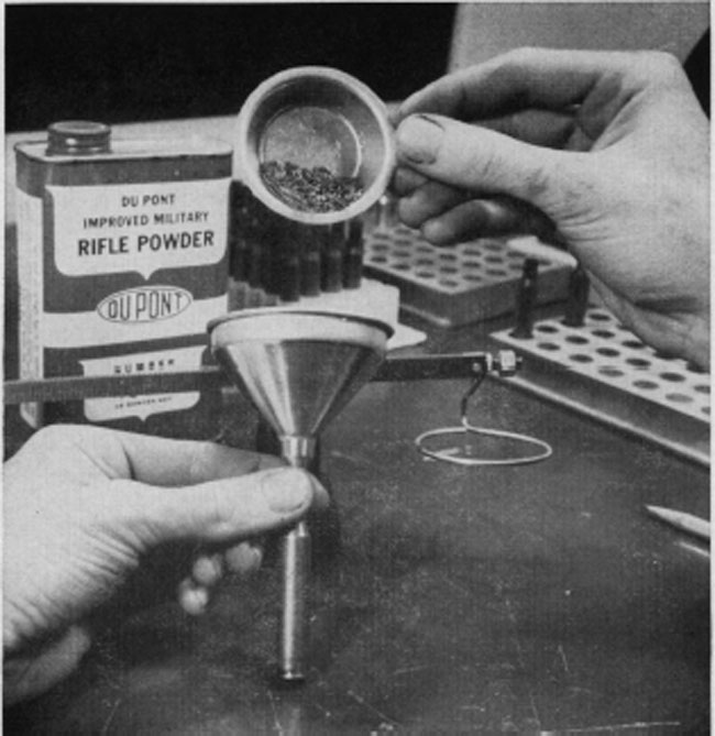 A proper-sized funnel facilitates pouring the powder from the scale pan into the cartridge case. Lorge-groined powders must be poured slowly to allow proper settling and keep funnel from jamming. Funnels come in sets.