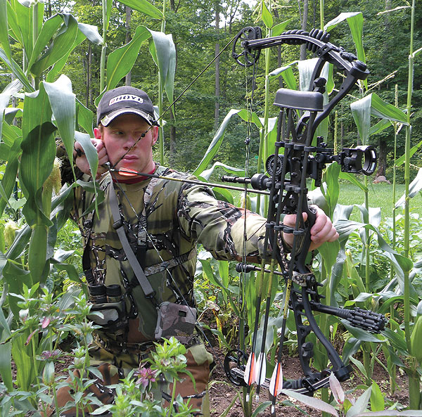 To guarantee a good performance during the season, practice in full hunting gear in realistic hunting scenarios. My mom's garden simulates a cornfield setup very nicely!