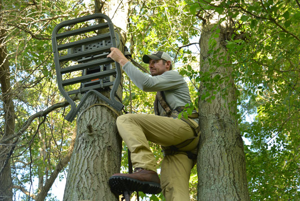 With the bracket in place, you simply secure the stand to the bracket and you're ready to hunt. This allows you to bowhunt multiple spots without having to buy dozens of expensive treestands.