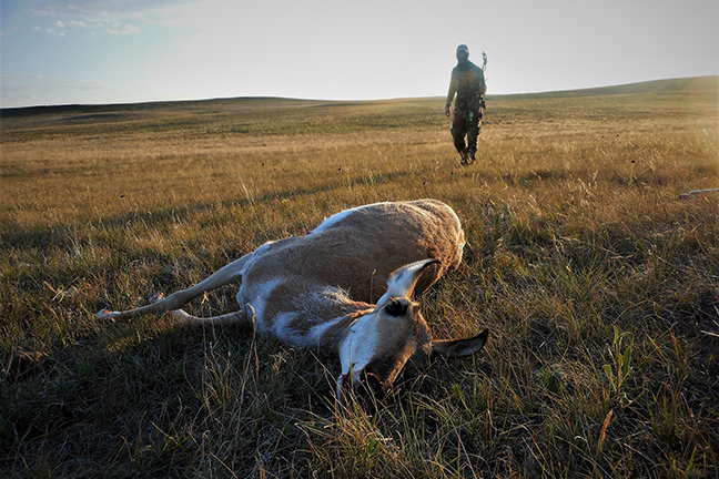 Hunter with pronghorn